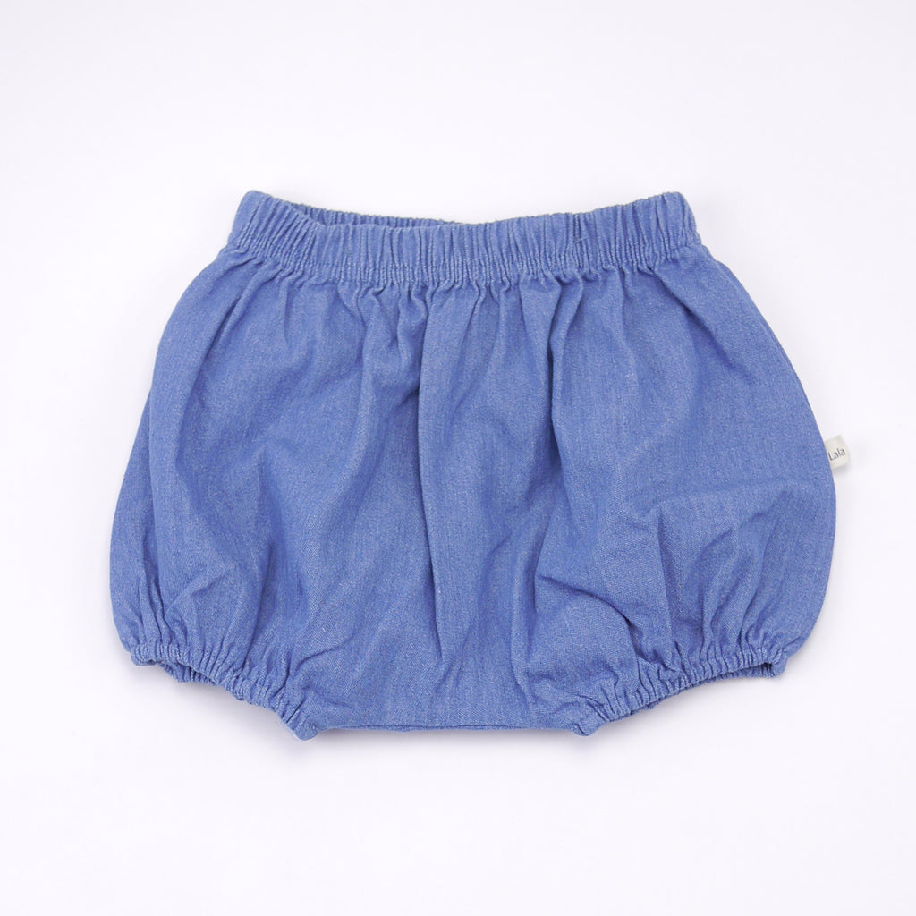 Jimmy chambray cotton bloomers and removable suspenders in blue for babies front