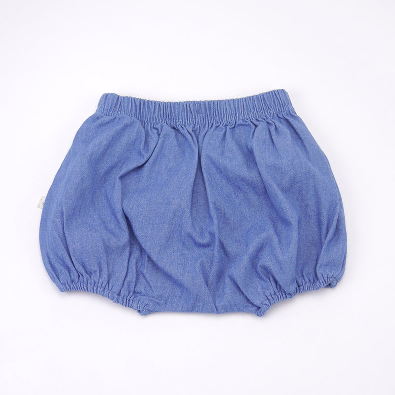 Jimmy chambray cotton bloomers and removable suspenders in blue for babies back view