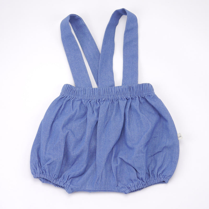 Jimmy chambray cotton bloomers and removable suspenders in blue for babies front view