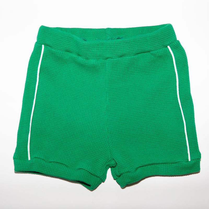 Jojo green waffle knit textured short with white piping for babies and kids front view