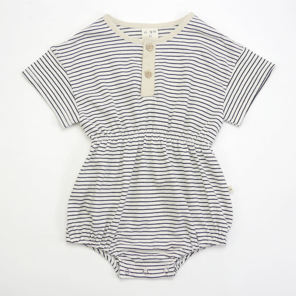 Jules striped one-piece romper for babies with front buttons front view