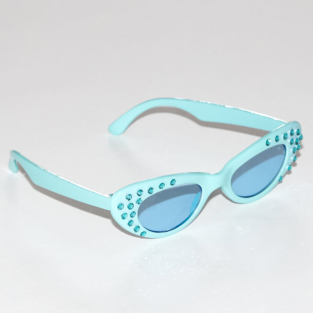 Karina embellished green monochromatic cat eye style sunglasses with real Swarovski crystals for kids side view