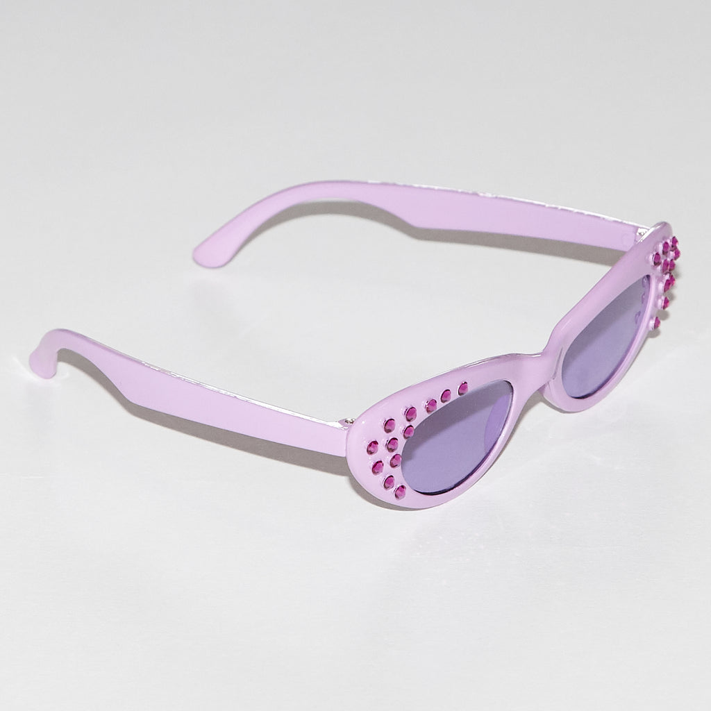 Karina embellished lavender monochromatic cat eye style sunglasses with real Swarovski crystals for kids side view
