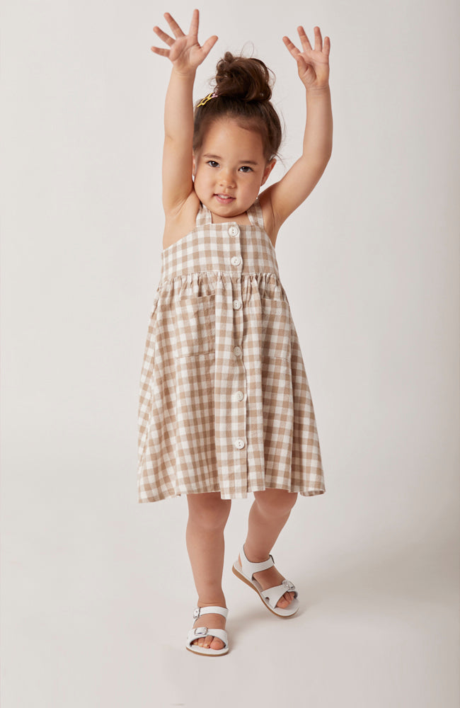 Karla sleeveless gingham midi dress with front buttons for kids front close up of buttons
