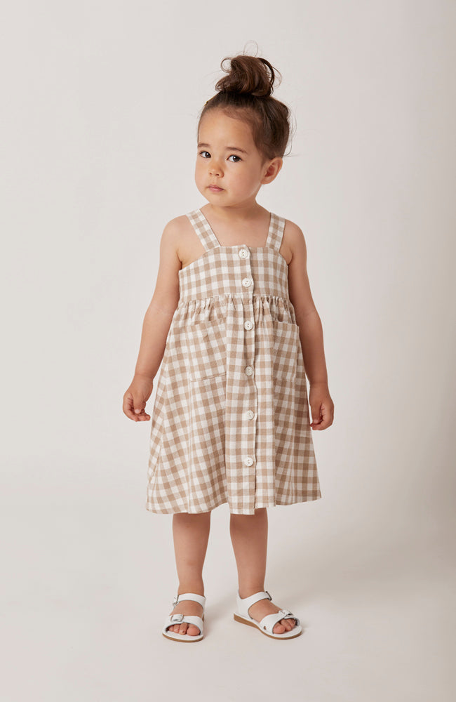 Karla sleeveless gingham midi dress with front buttons for kids full front view