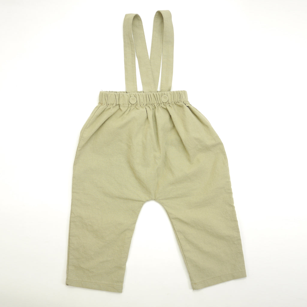 Kyle pants with removable and adjustable suspender straps in khaki linen for babies and toddlers front