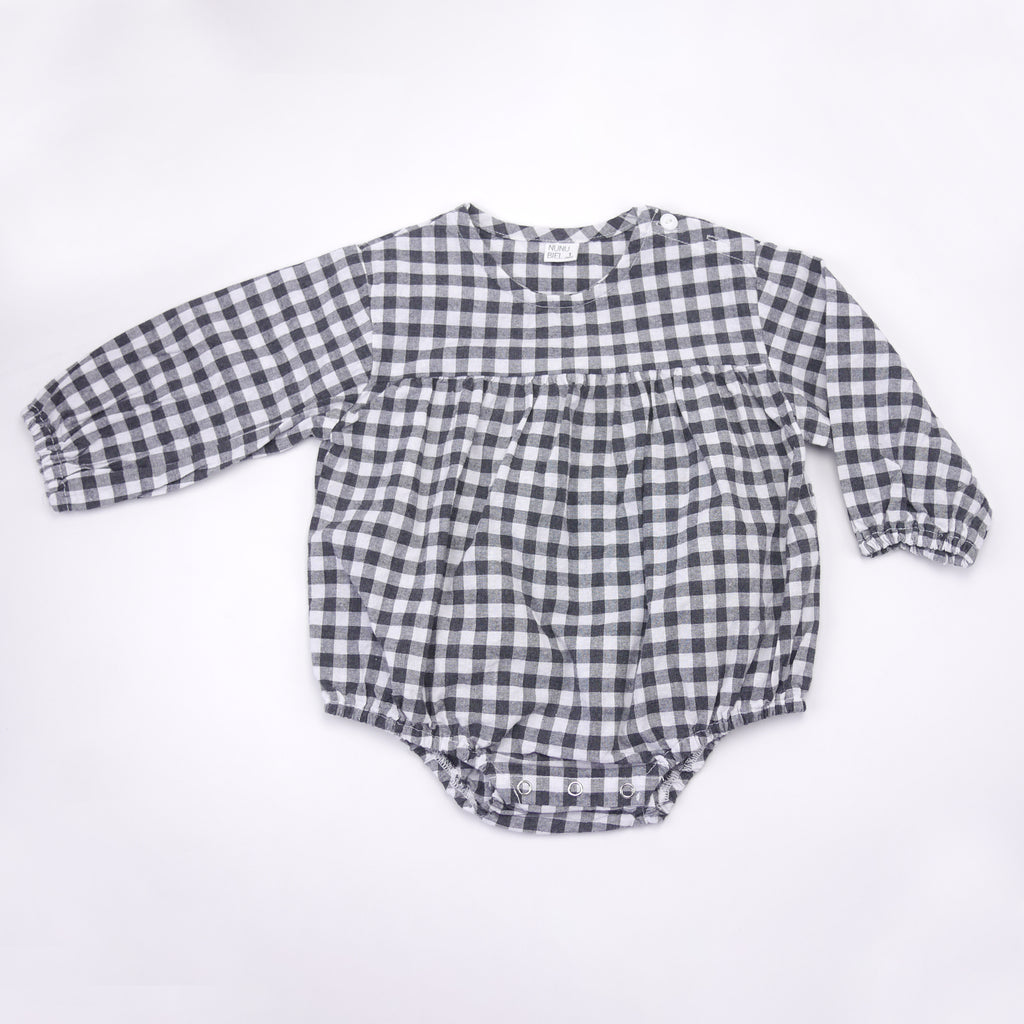 Laz black and white gingham long sleeved romper for babies