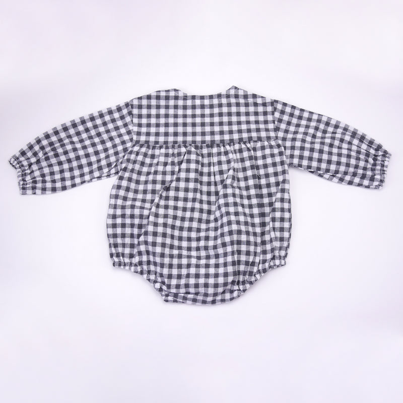 Laz black and white gingham long sleeved romper for babies back view
