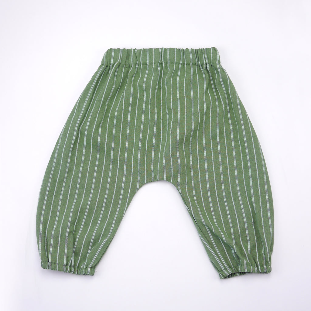 Lorenzo green and white skinny stripe harem pant for babies and kids back view
