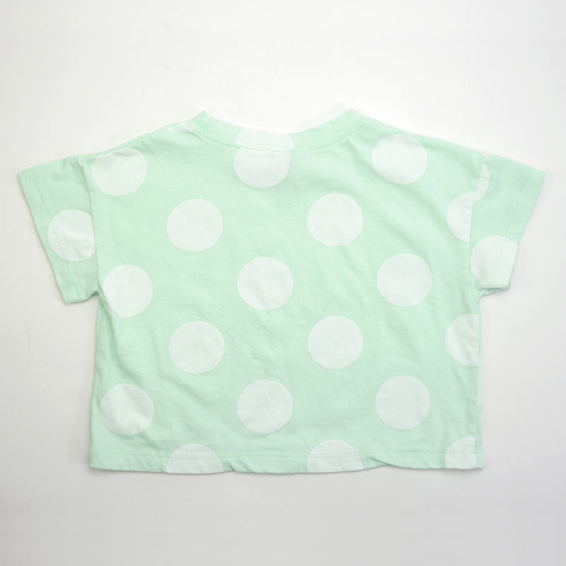 Luis boxy mint tee silhouette with oversized white polka dots for babies and kids back view