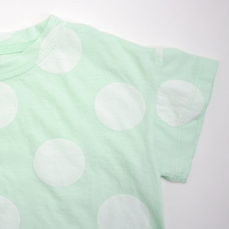 Luis boxy mint tee silhouette with oversized white polka dots for babies and kids sleeve detail