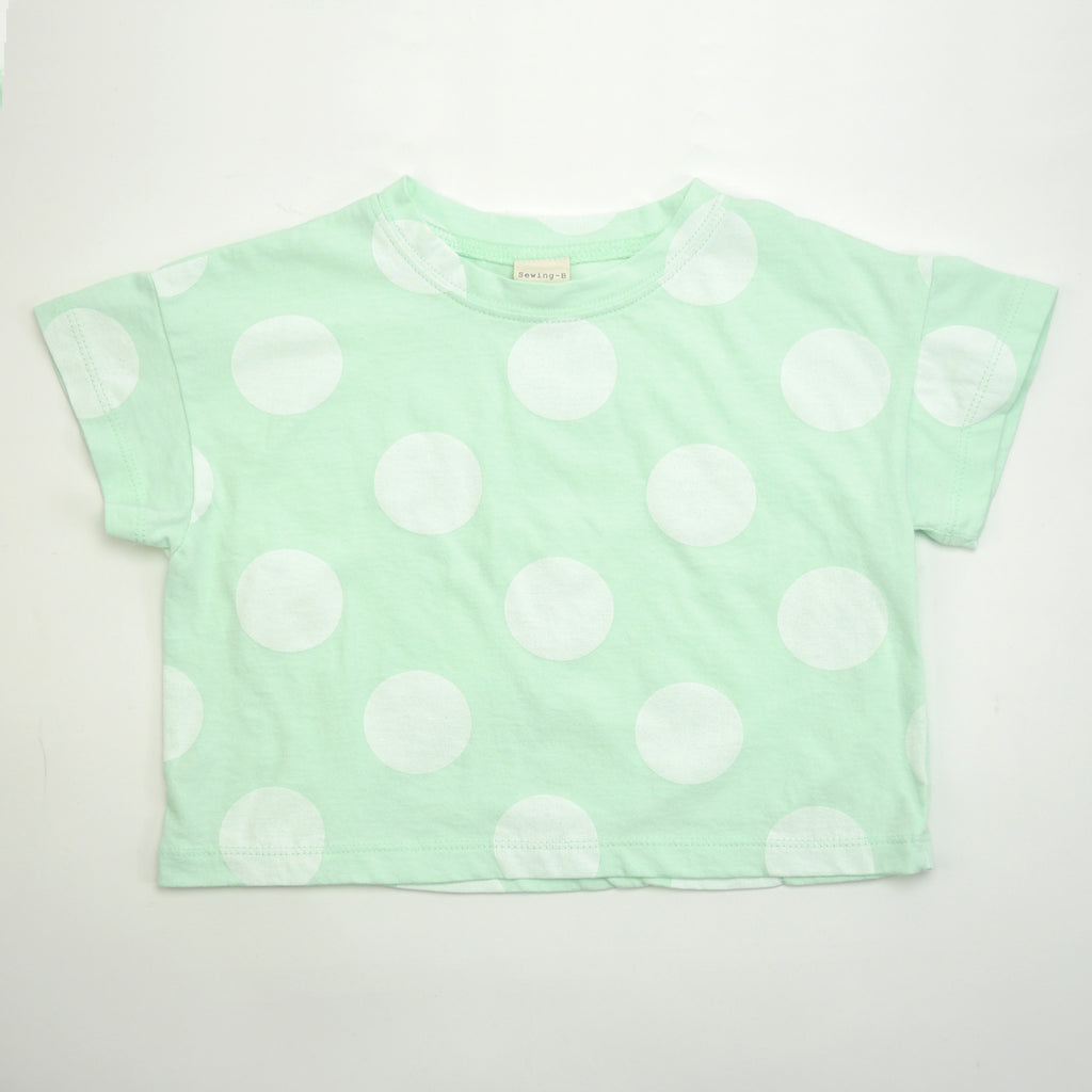 Luis boxy mint tee silhouette with oversized white polka dots for babies and kids front view