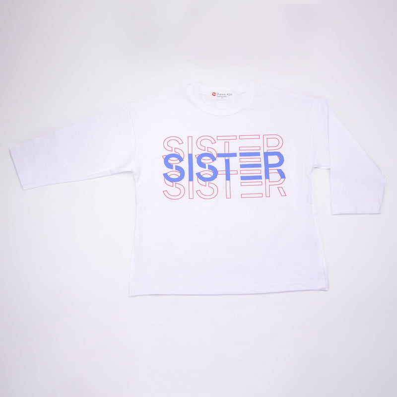 Luna and Sol long sleeved Sister Logo tee for kids front view