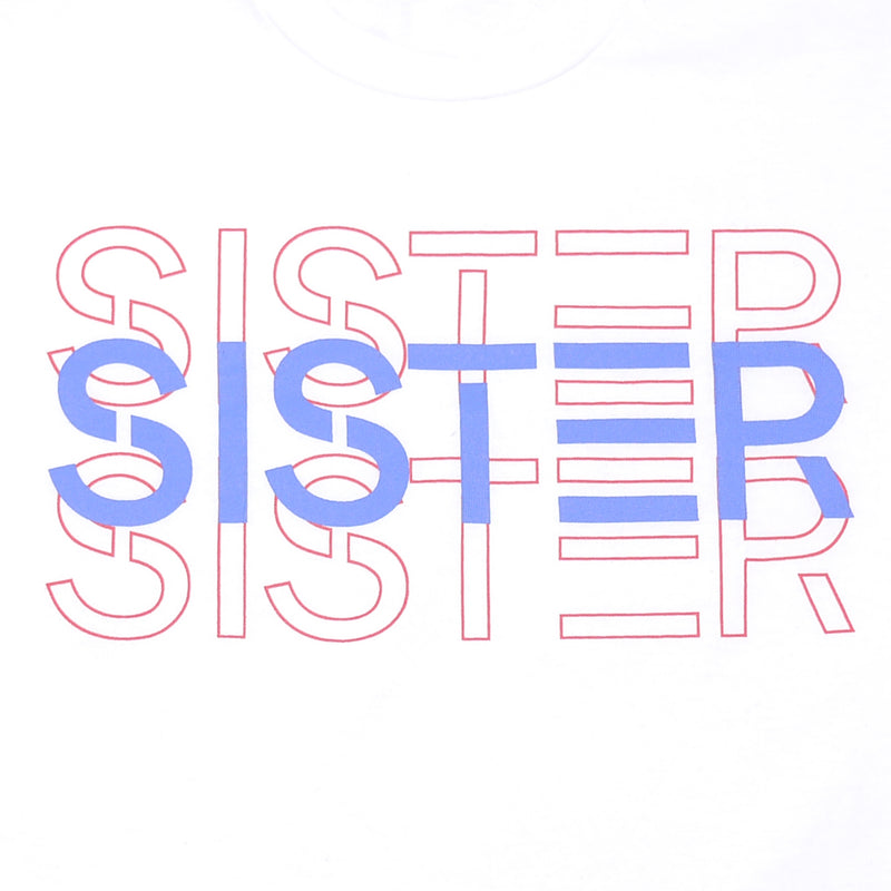 Luna and Sol long sleeved Sister Logo tee for kids screen print closeup
