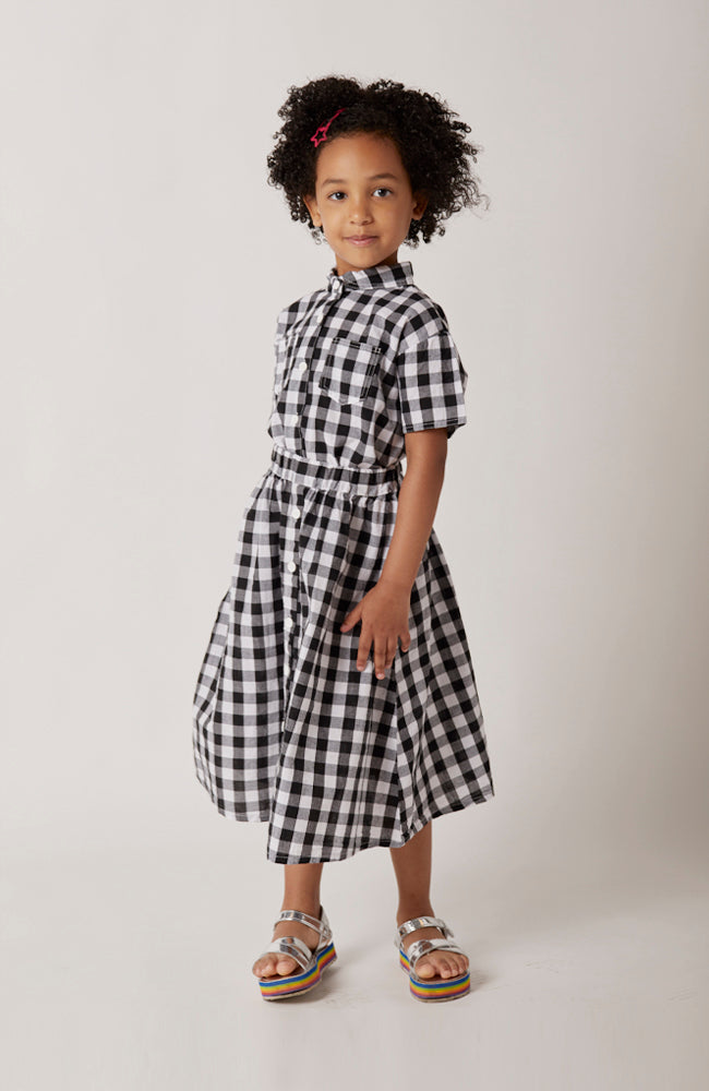 Maia black and white checkered midi skirt with buttons for kids front view