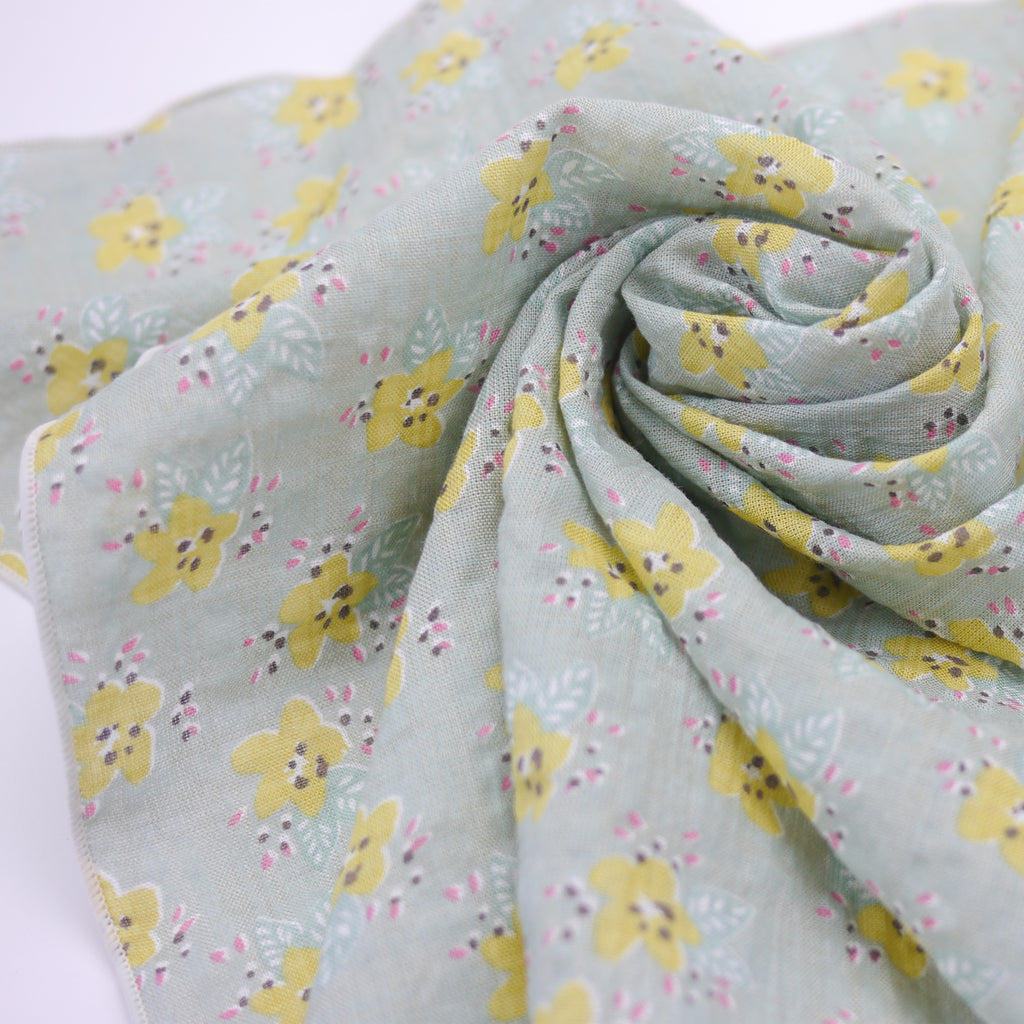 Maria green grey and yellow floral print square scarf for babies and kids