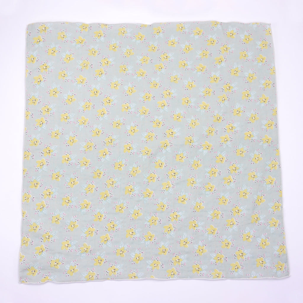 Maria green grey and yellow floral print square scarf for babies and kids aerial view