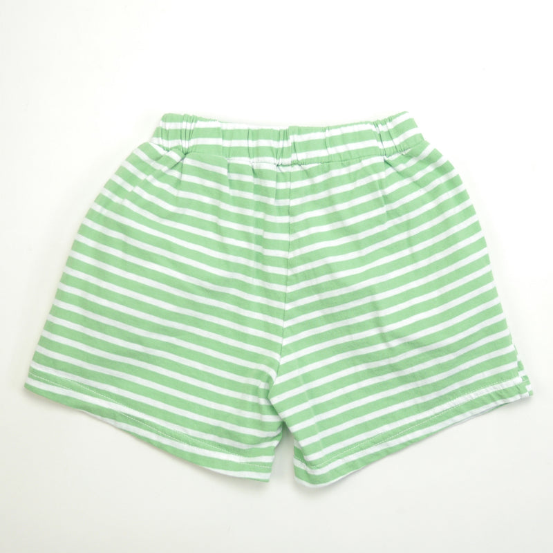 Marina  green and white striped shorts with a soft elastic waist and front pockets for babies and kids back view