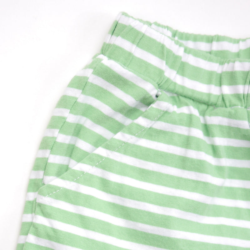 Marina  green and white striped shorts with a soft elastic waist and front pockets for babies and kids closeup