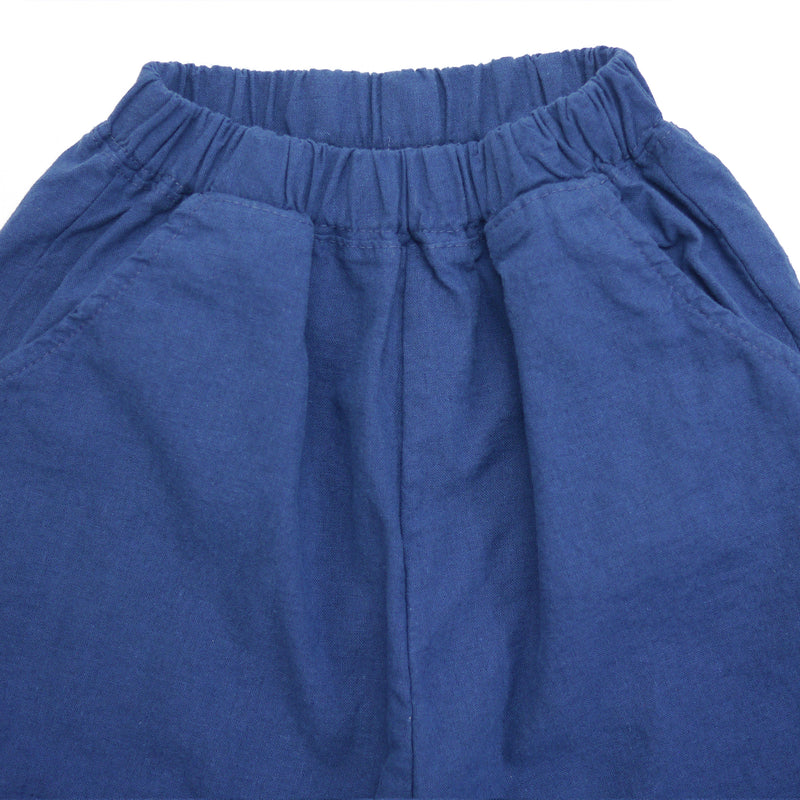 Matteo linen navy relaxed fit pants for babies and kids front closeup
