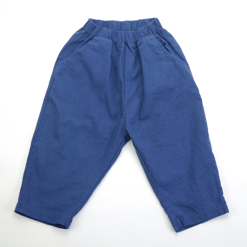 Matteo linen navy relaxed fit pants for babies and kids front view
