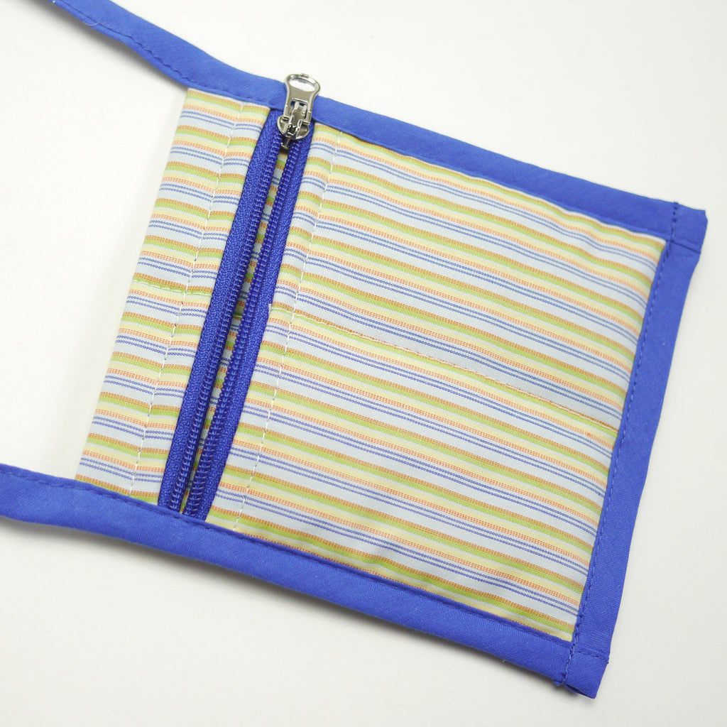 Metro blue striped crossbody bag with zipper closure for kids closeup front view
