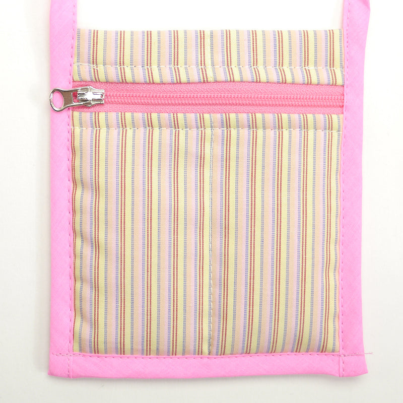 Metro pink striped crossbody bag with zipper closure for kids front closeup