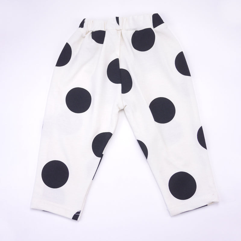 Raphaelle polka dot french terry sweatpants in black and white for babies and kids back view