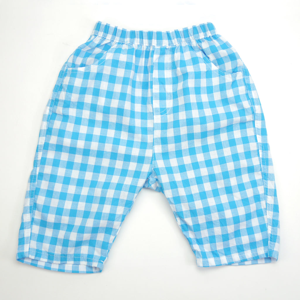 Remy blue and white checkered pants for babies and kids front view