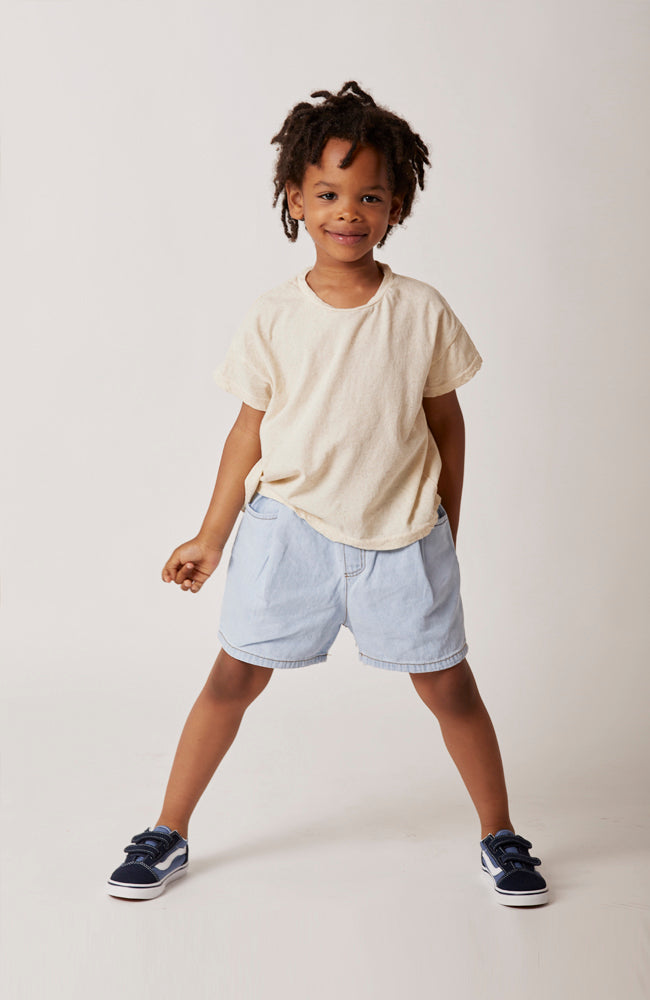 Sage smiley face heathered oatmeal linen jersey tee for babies and kids front view