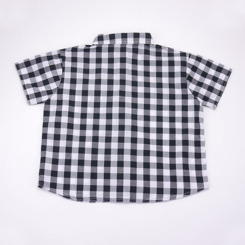 Sam black and white checkered top with peter pan collar for kids back view