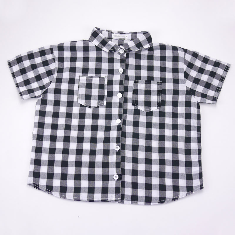 Sam black and white checkered top with peter pan collar for kids front view