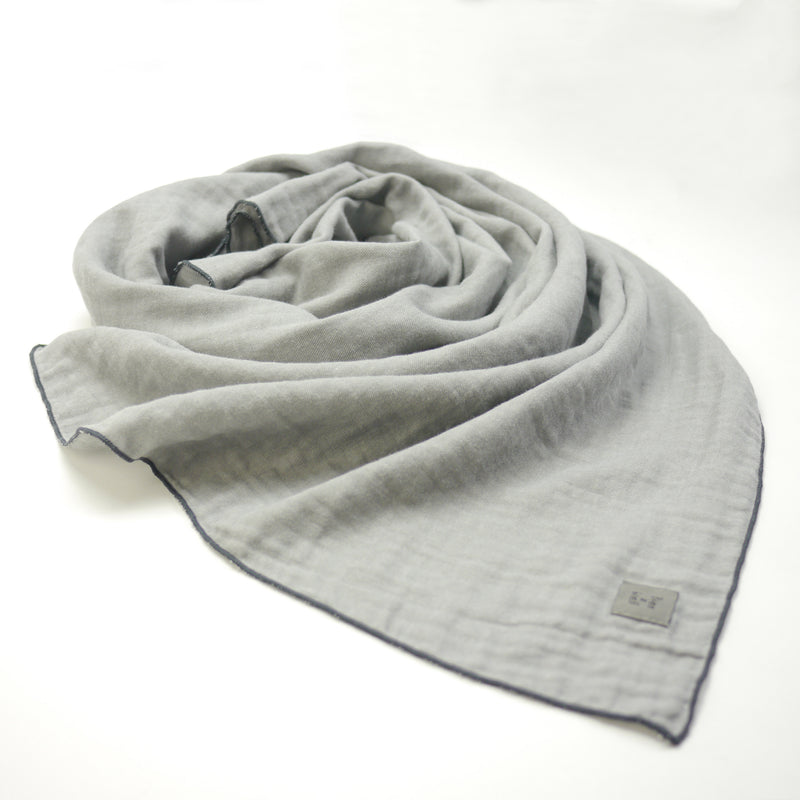 Santiago twill grey rectangular scarf for kids and mom fabric swirl detail