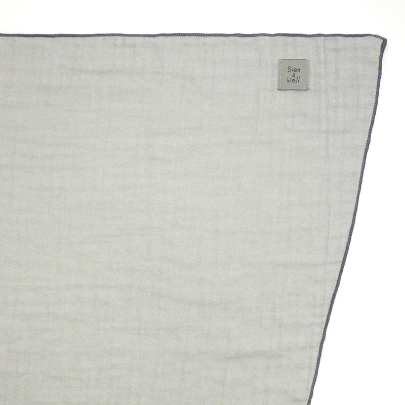 Santiago twill grey rectangular scarf for kids and mom label detail