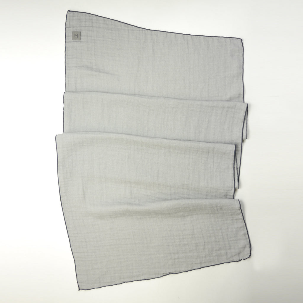 Santiago twill grey rectangular scarf for kids and mom draped detail