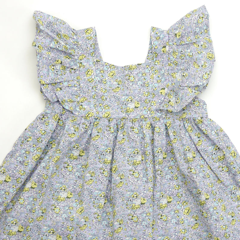 Sasha ruffle sleeve blue floral print dress for toddlers and kids back closeup view