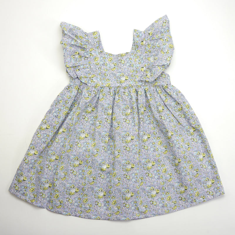 Sasha ruffle sleeve blue floral print dress for toddlers and kids back view