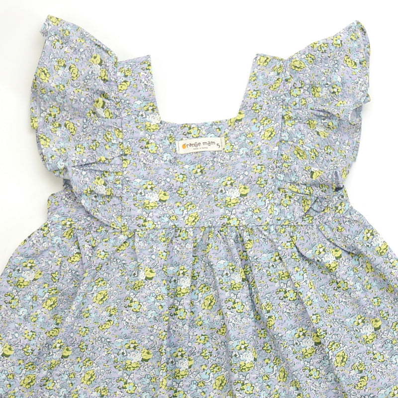 Sasha ruffle sleeve blue floral print dress for toddlers and kids front closeup
