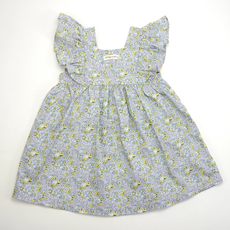 Sasha ruffle sleeve blue floral print dress for toddlers and kids front view