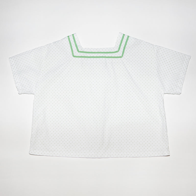 Simone white and green polka dots square neck top for toddlers and kids back view
