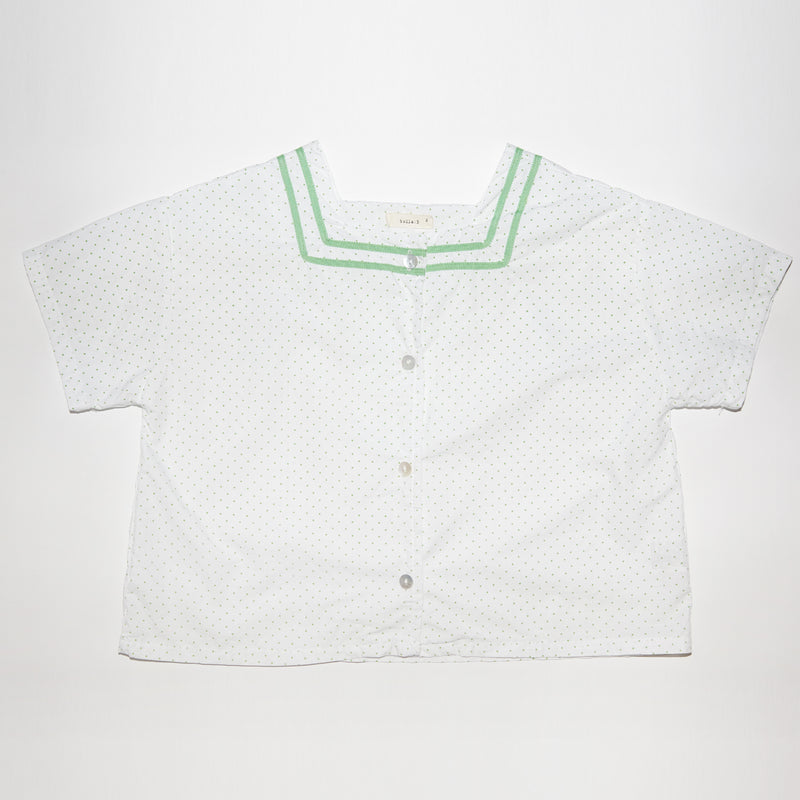 Simone white and green polka dots square neck top for toddlers and kids front view
