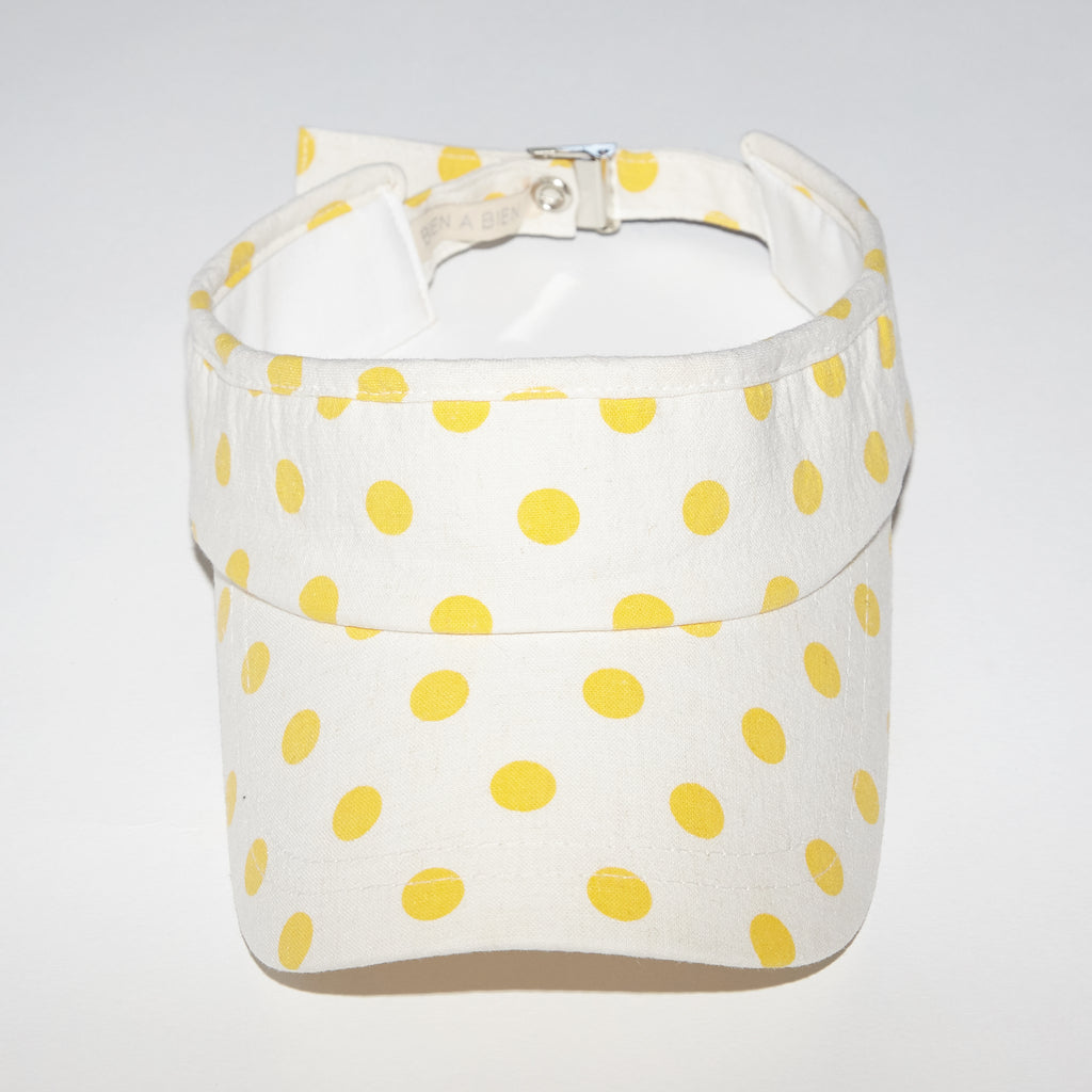Sunshine yellow polka dots visor for babies and kids front view