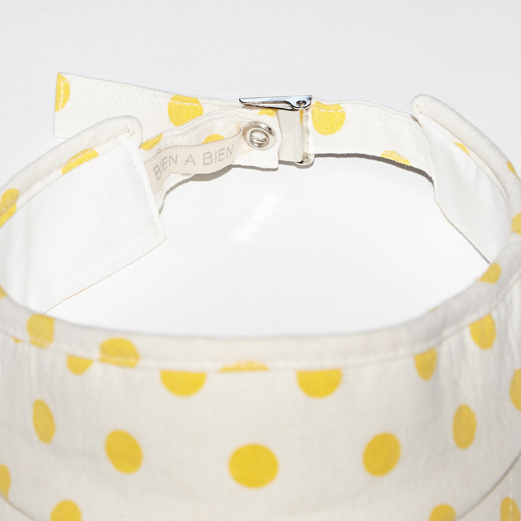 Sunshine yellow polka dots visor for babies and kids back view