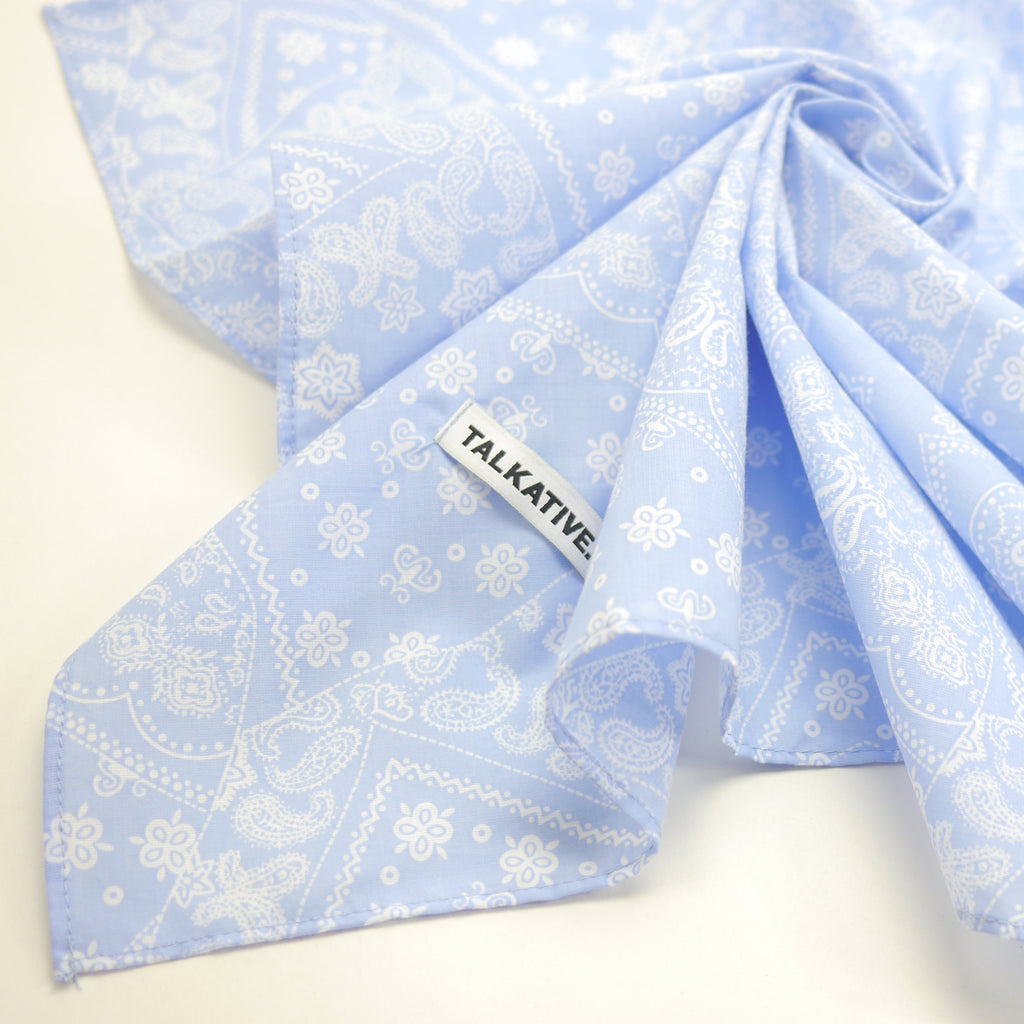 Talkative soft blue paisley bandana in cotton for babies and kids
