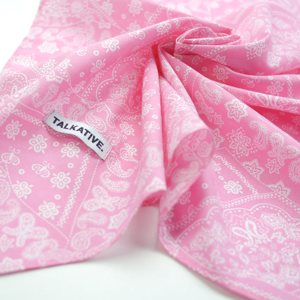 Talkative bright pink paisley bandana in cotton for babies and kids