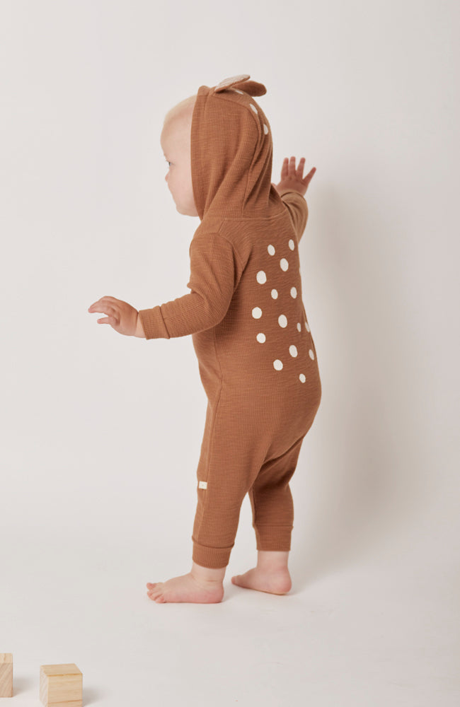Thom baby bambi deer zipper onesie jumpsuit for babies back view