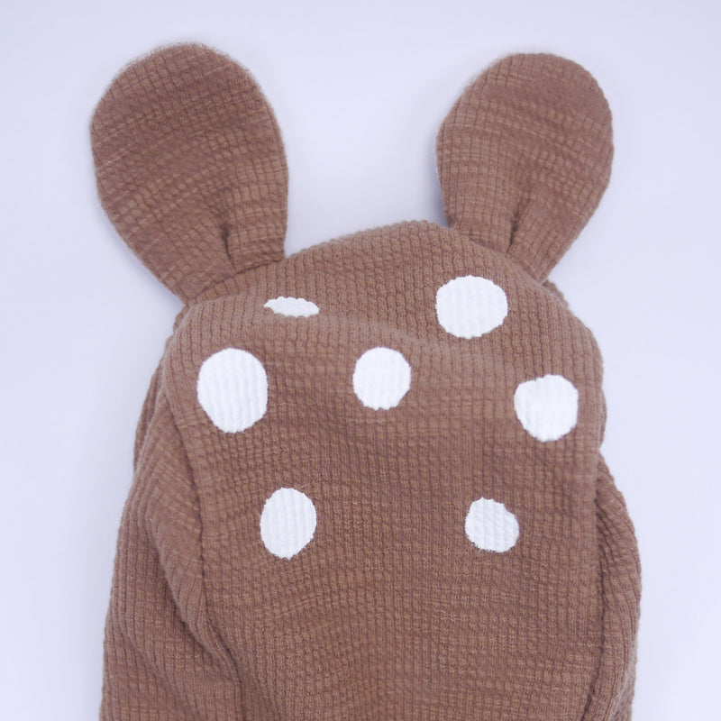 Thom baby bambi deer zipper onesie jumpsuit for babies back hood