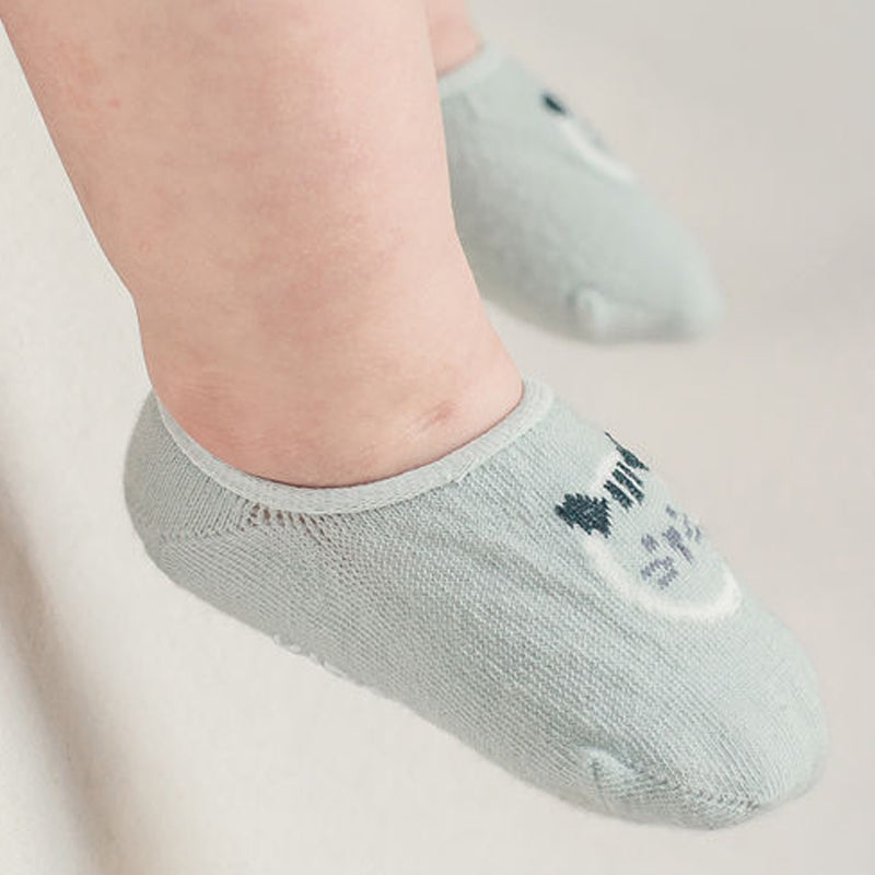 Summer ankle socks with adorable tiger faces in mint blue