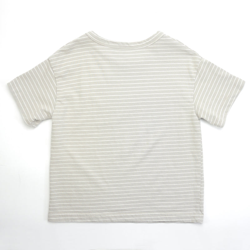 Tori striped beige and white drop shoulder tee for babies and kids back view