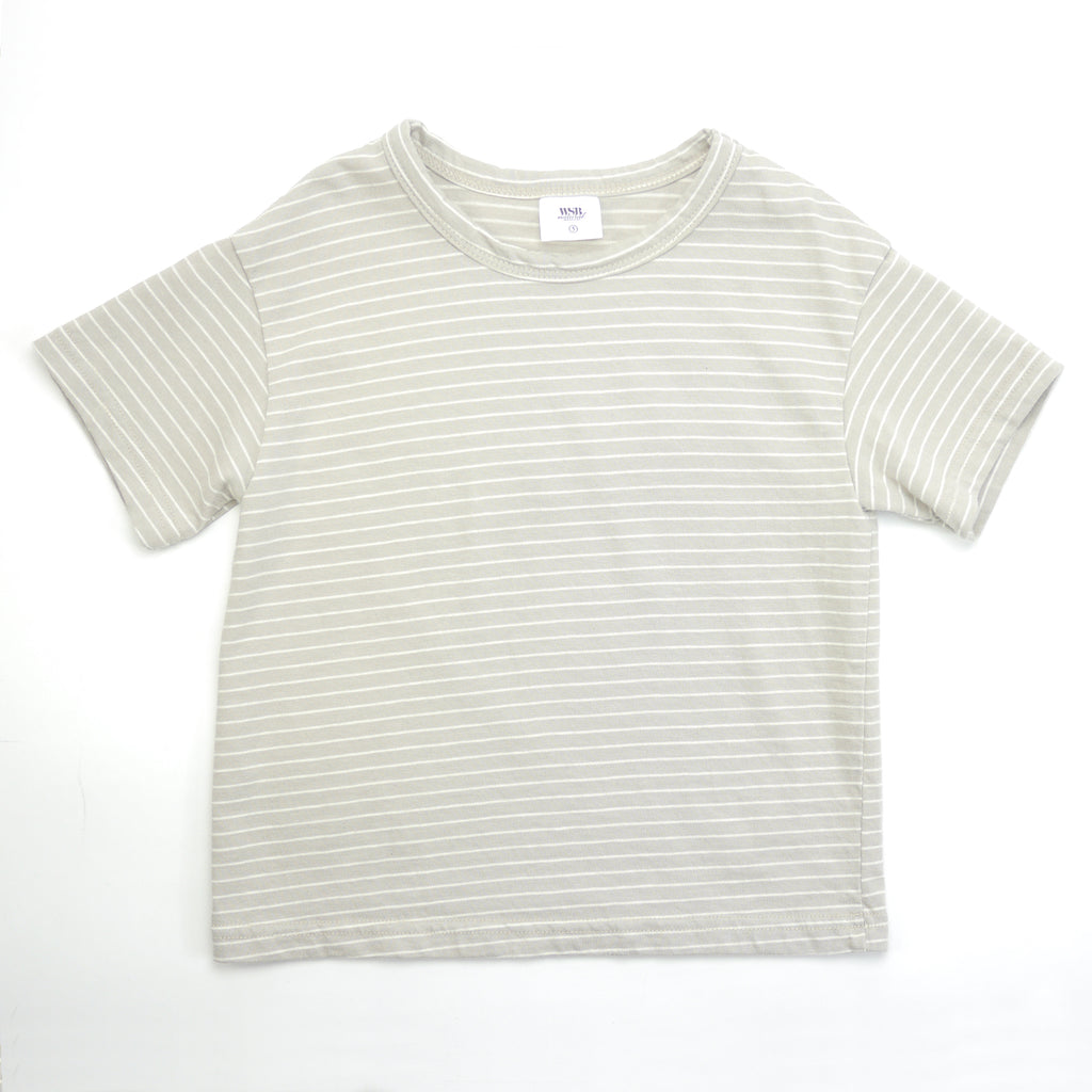 Tori striped beige and white drop shoulder tee for babies and kids front view